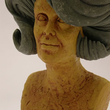 Life-size bust of Flip Stump from the Chanel/Big Hair Series